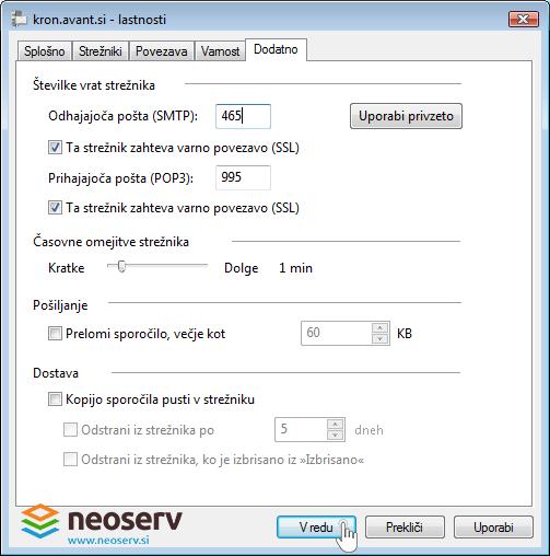 Window mail 6 slo pop ssl - nastavitve vrat.