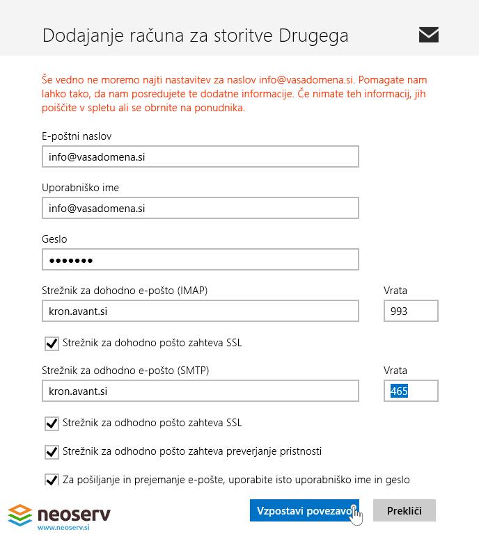 Windows 8 mail slo imap z ssl - nastavitve streznikov.