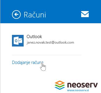 Windows 8 Mail slo - dodajanje epostnega racuna