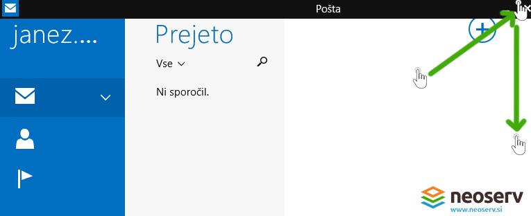 Windows 8 mail - dodajanje uprabniskega racuna.