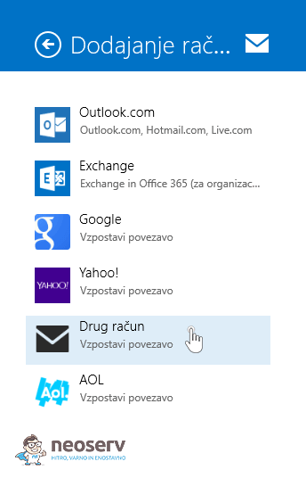 Windows 8 Mail slo - drug račun email
