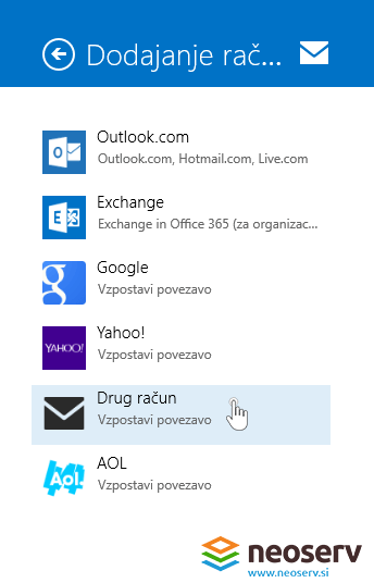 Windows 8 Mail slo - drug racun email.