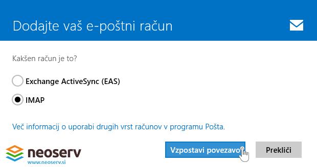 Windows 8 Mail slo - dodajanje imap racuna brez ssl.