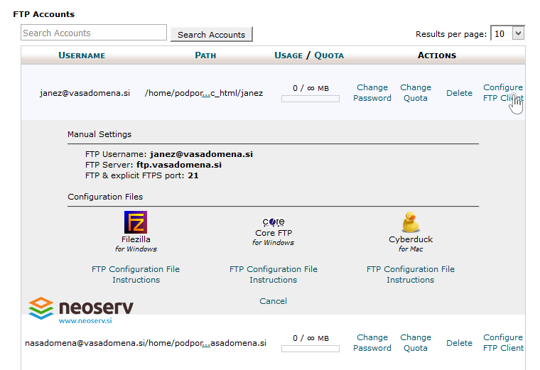 cPanel - FTP dostopni podatki