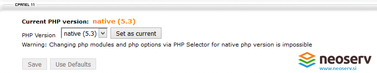 cPanel - PHP version Native 5.3