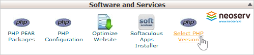 cPanel - Select PHP version