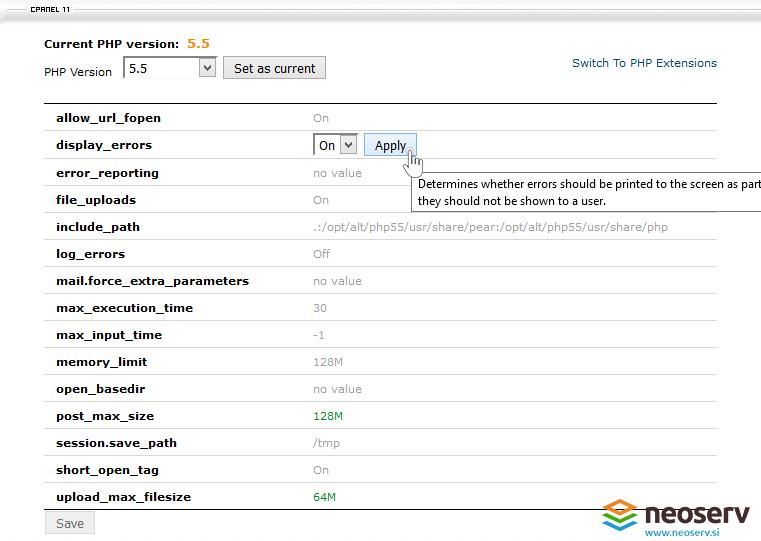 cPanel - Spremeni PHP verzijo - Display Errors