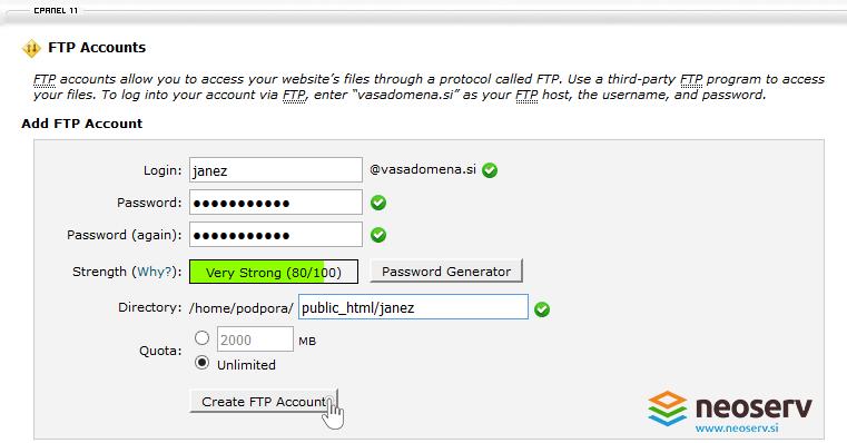 cPanel - ustvari FTP račun