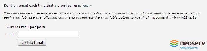 Cron opravilo - vnesi email.