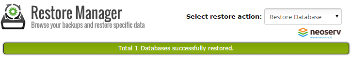 Database restore manager - uspešna obnova baz podatkov.
