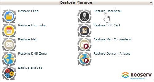 Database restore manager - obnovite baze podatkov.