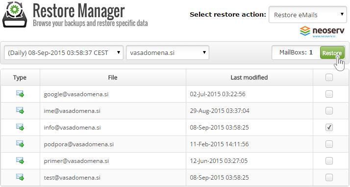 Cpanel mail restore manager - izberi datum in domeno.