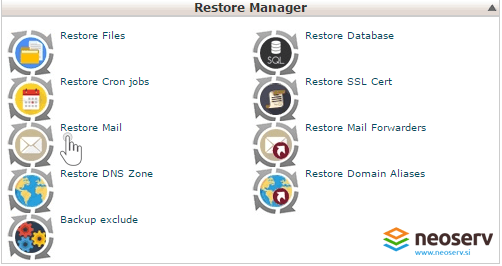 Izberite cpanel mail restore manager.