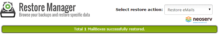 cPanel mail restore manager - uspesna obnova poštnih predalov.