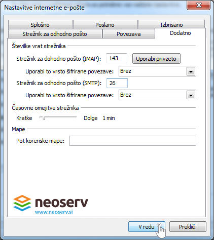 Outlook 2010 slo imap no ssl - nastavitve portov(vrat).