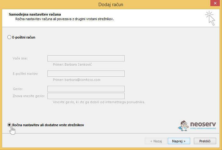 Outlook 2013 slo dodaj račun ročno