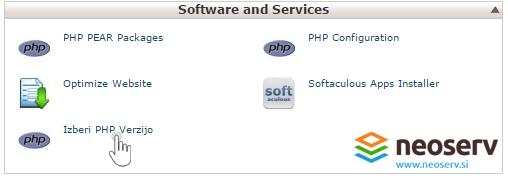 Izberite PHP verzijo.
