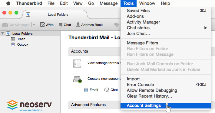 Thunderbird for Mac EN - account settings.