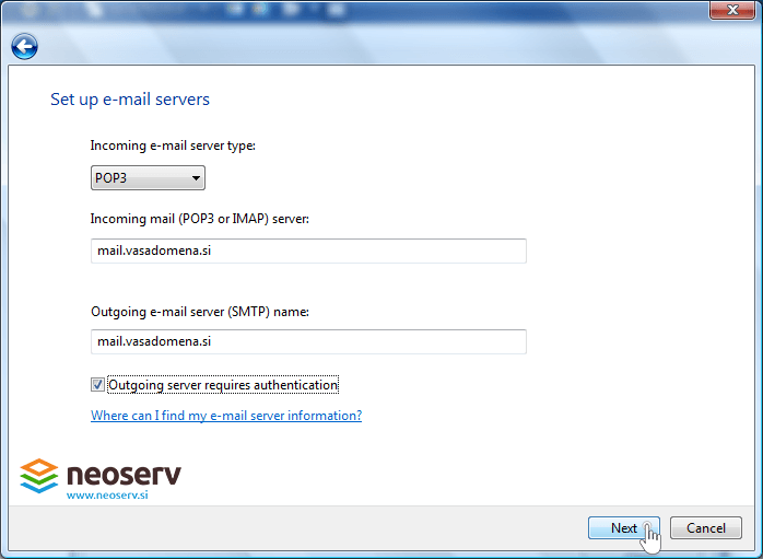 Windows Mail 6 en pop nossl - server info.