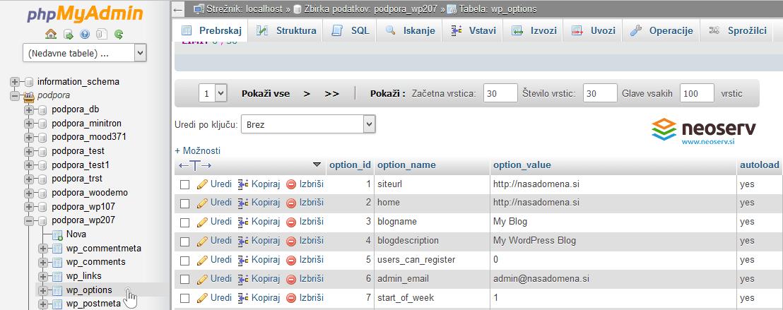 phpMyAdmin - spremeni URL