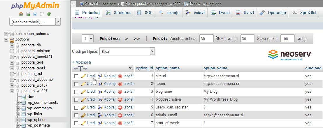 phpMyAdmin - sprememba URL - uredi