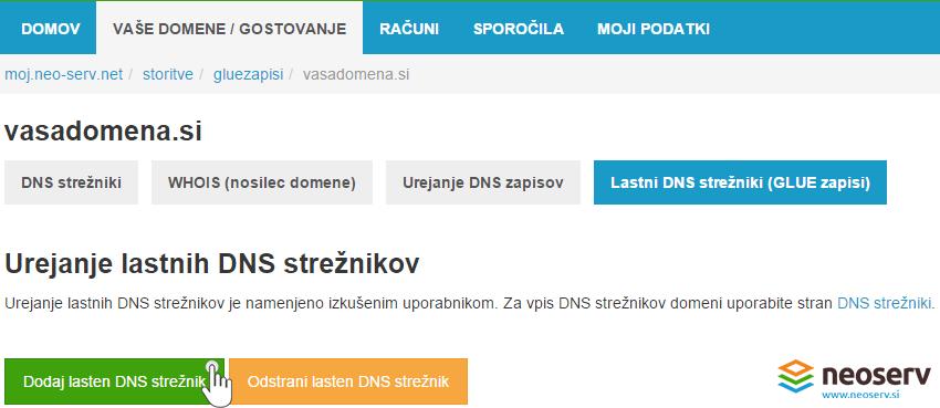 Dodajanje lastnega DNS strežnika - vpis nastavitev.