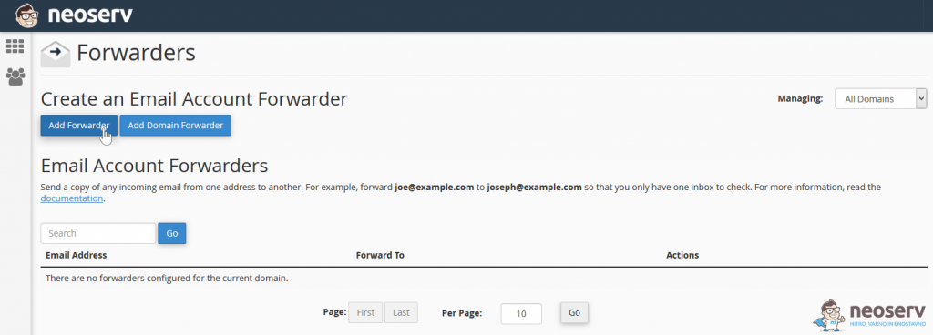 cPanel - Add Forwarder