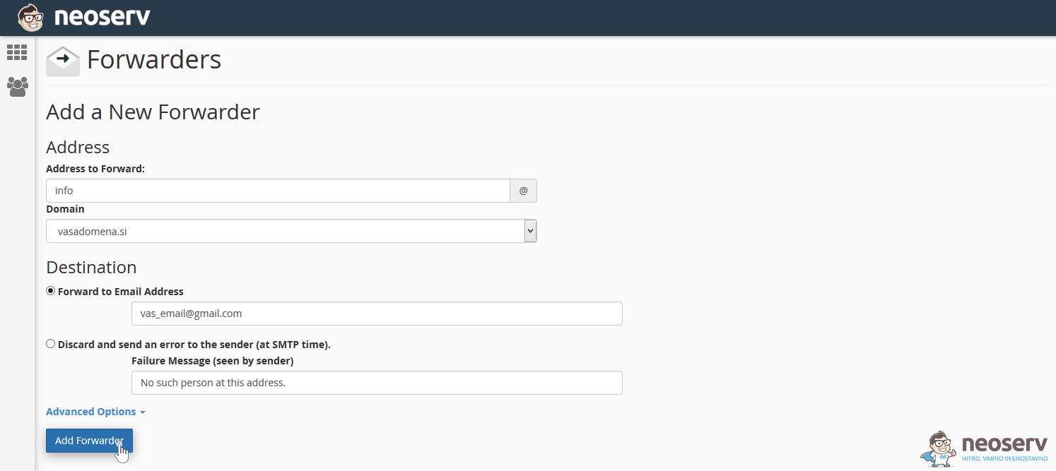 cPanel Ustvari posredovalnik e-pošte
