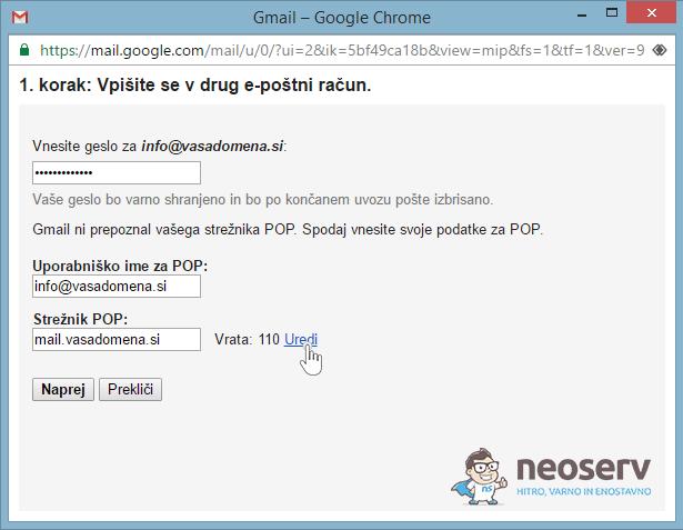 E-pošta preko Gmaila - POP3 - 2.korak