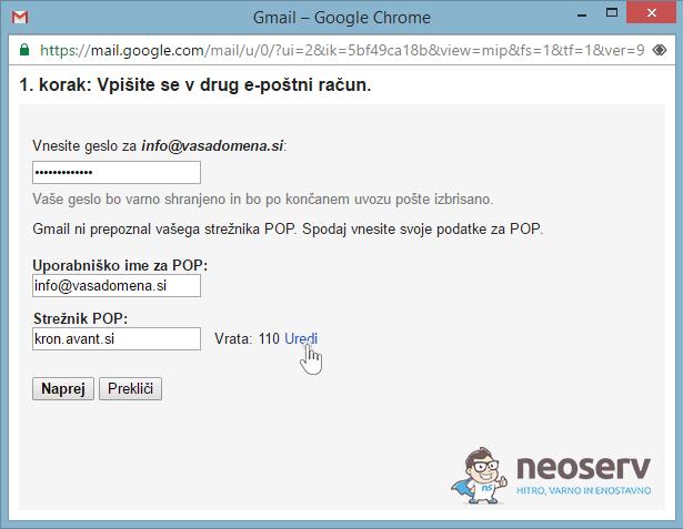 E-pošta preko Gmaila - POP3 - 2a.korak