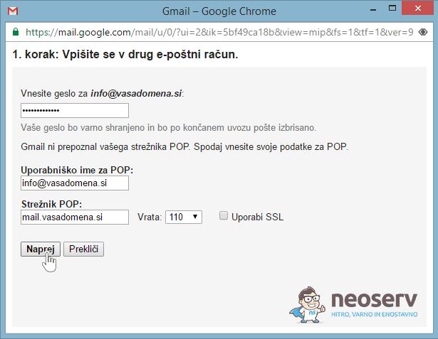 E-pošta preko Gmaila - POP3 - 3.korak