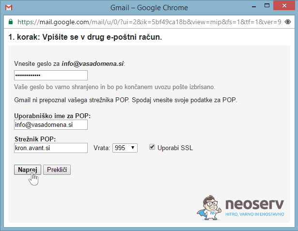 E-pošta preko Gmaila - POP3 - 3a.korak