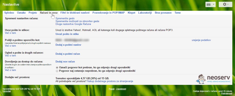 Gmail Računi in uvoz