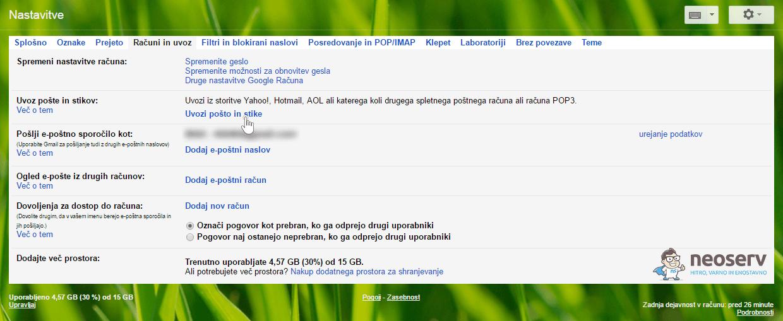 Gmail Računi in uvoz - Dodaj račun