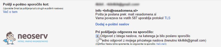Gmail - Pošlji sporočilo z drugega naslova - korak 5