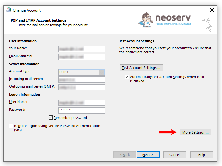 Change Account - More Settings