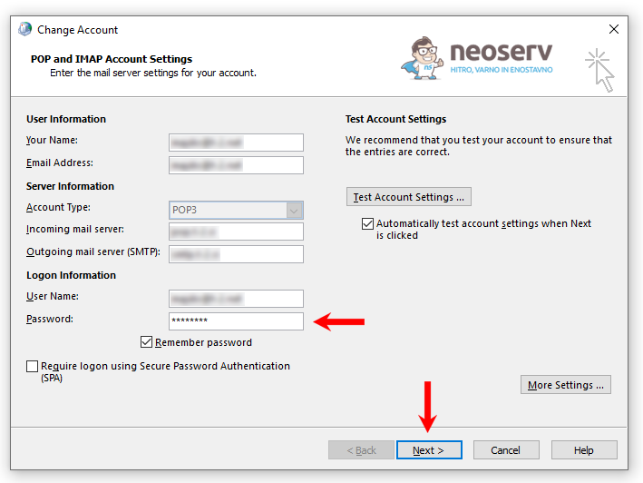 Change Account - ponoven vpis gesla